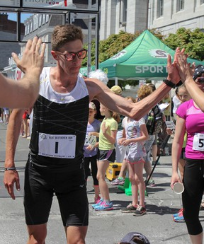 Kingston Olympian Dylan Wykes ran the Beat Beethoven's 8 km course twice, finishing with a time of 49:17, on June 1. (Julia McKay/The  Whig-Standard)