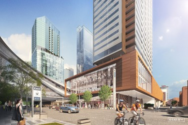 Street view with three of the new high-rises in the future Edmonton Arena District (EAD). The joint venture between the Katz Group and WAM Development Group will help elevate and revitalize Edmonton's downtown core. Photo Courtesy/EAD