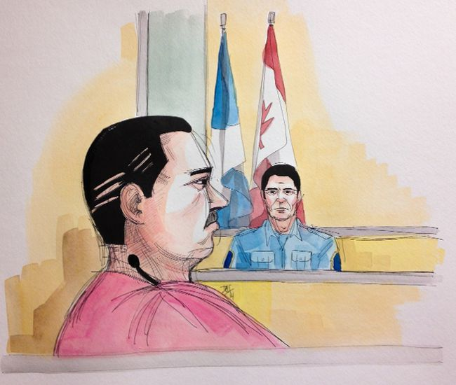 Luka Rocco Magnotta appeared in court Thursday, Aug. 28, 2014, at the Montreal courthouse. (DELF BERG/QMI AGENCY)
