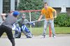Jordan Whiteland, centre, and Nick Cotto focus on a shot by Joel Blancher as the trio played a little road hockey on First Avenue in Brockville, Ont. on  Wednesday, Sept. 4 2013 . Darcy Cheek/QMI Agency file photo