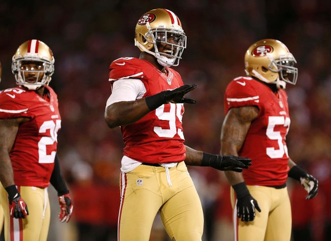 San Francisco 49ers outside linebacker Aldon Smith (99) reacts after sacking Chicago Bears quarterback Jason Campbell during the first half of their NFL football game San Francisco, California November 19, 2012. (REUTERS/Beck Diefenbach)