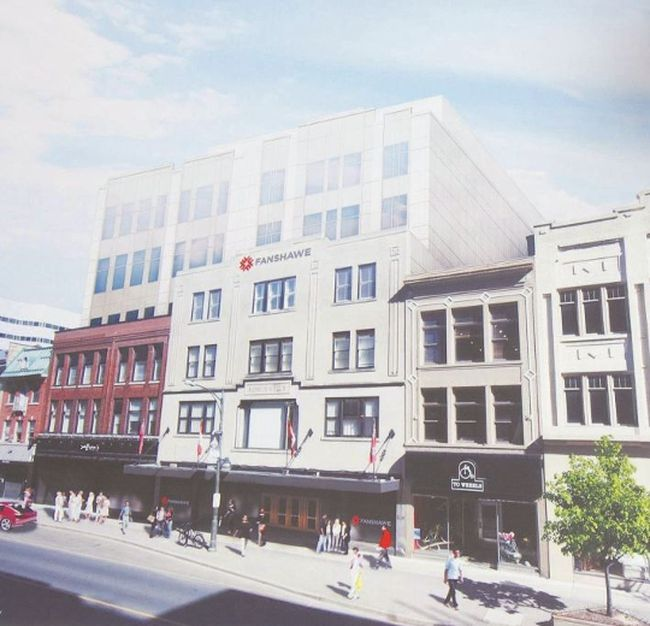 An artist's rendering shows the transformation Fanshawe College wants to make to the Kingsmill's building on Dundas St. in downtown London, including the addition of two storeys to the former department store. Fanshawe's request for $10 million from the city toward its $66 million plan to expand its downtown campus ­— adding another 1,600 students to the 400 already at the College's Centre for Digital and Performance Arts in Market Tower — was rebuffed by council. The issue comes before council again Tuesday, just before end-of-term restrictions limit council's spending power, after the Downtown Business Association offered to contribute $1 million to the project.