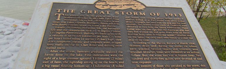 A memorial to The Great Storm of 1913 near the Lambton Area Water Supply System treatment plant. (File photo)