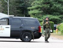 Members of the OPP Emergency Response Team man a road block at the intersection of Labine Crescent and Hoffman Street in Petawawa Saturday morning. A stand-off at a Labine Crescent residence has entered its second day. Police are not saying what the nature of the incident is. (SEAN CHASE/DAILY OBSERVER)