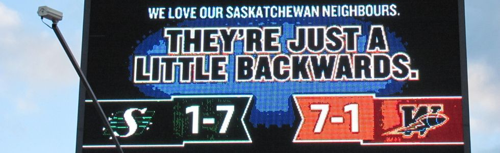 The Bombers took out a billboard in Regina Friday, Sept. 3, 2011 in advance of the Labour Day Classic, in retaliation to an earlier billboard the Saskatchewan Roughriders put up in Winnipeg. (TWITTER.COM)