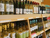 Wine bottles on display at an LCBO