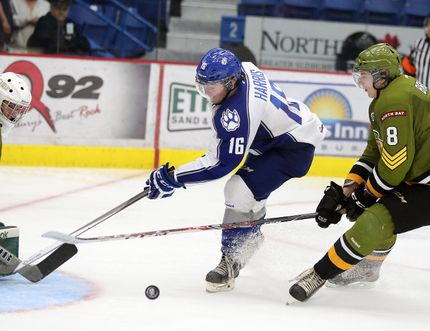 Sudbury Wolves veteran centre Jacob Harris gets stopped by North Bay Battalion goaltender Evan Cormier while North Bay's Riley Brace trails the play during OHL exhibition action at Sudbury Community Arena on Sunday afternoon.
