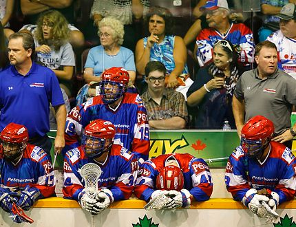 The Peterborough Lakers react to their 9-5 loss to Six Nation Chiefs during third period Game 7 MSL final action on Sunday, August 31, 2014 at the Memorial Centre. The Chiefs will host the Mann Cup after scoring seven unanswered goals after the Lakers had been leading after two periods. Clifford Skarstedt/Peterborough Examiner/QMI Agency