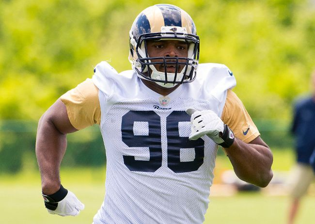 Michael Sam runs during Rams rookie minicamp in St. Louis on May 16, 2014. (Scott Rovak/USA TODAY Sports/Files)