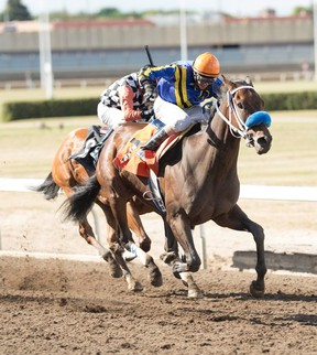 Deadly Truth took first place in the $75,000 Speed to Spare Stakes Monday at Northlands. (Ryan Haynes)