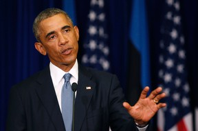 U.S. President Barack Obama talks during a press conference at the Bank of Estonia in Tallinn, Estonia, September 3, 2014. The United States plans to fight Islamic State until it is no longer a force in the Middle East and will seek justice for the killing of American journalist Steven Sotloff, President Barack Obama said on Wednesday.  REUTERS/Larry Downing