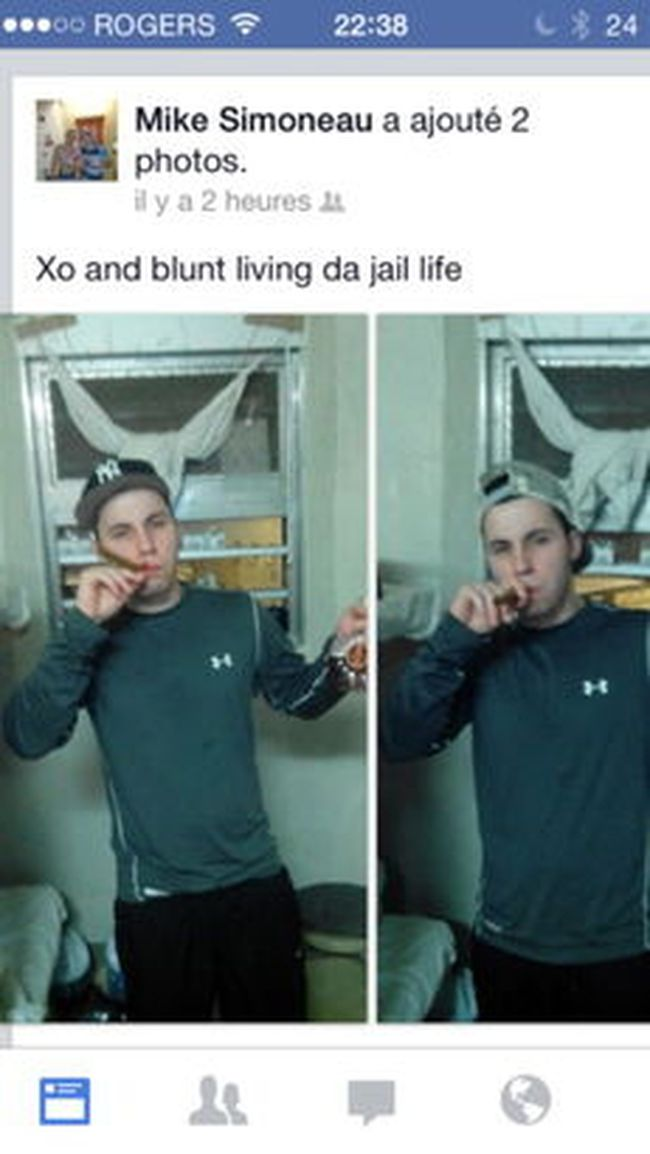 """Montreal's infamous Bordeaux jail is reviewing security procedures after an inmate posted Facebook photos of himself with fine cognac in one hand, a cigar in the other and finely sculpted pecs in-between. The photos of convict Michael Simoneau-Meunier, taken from his cell, are titled """"Xo and blunt living da jail life."""" Xo refers to his $250 bottle of cognac and blunt is slang for a marijuana joint. (Facebook Photo)"""