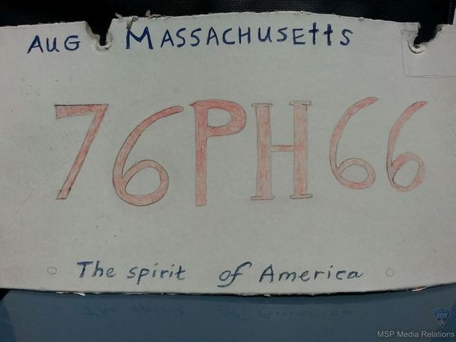 An ersatz Massachusetts registration plate. (Facebook)
