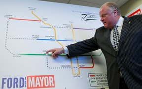 Rob Ford at his campaign office in Etobicoke as lays out his transit plans for Toronto Wednesday, September 3, 2014. (Dave Thomas/Toronto Sun)
