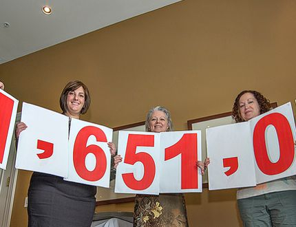 <p>Stephanie Hermans (left), Alex Felsky, Deb Thornberry, Sarah Disher-Neddow and Marc Laferriere hold numbers representing Brant United Way's campaign goal, during a kick-off at a Rotary Club of Brantford luncheon on Friday, September 5, 2014 at the Brantford Golf and Country Club. Last year, over 41,500 people in Brantford, Brant County and Six Nations received help from 18 member agencies, and more than 60 programs and services funded by the Brant United Way.</p><p>BRIAN THOMPSON/BRANTFORD EXPOSITOR/QMI Agency