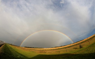 A double rainbow is captured on Sept 1, 2014 at around 8:00 pm near Leduc just off of QE II. Hugo Sanchez/Special to the Edmonton Sun