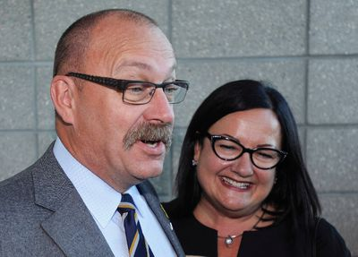 Alberta Progressive Conservative leadership candidate Ric McIver (L) and wife Christine arrive at the results event of the first ballot for the leadership of the PC party of Alberta in Edmonton September 6, 2014.   REUTERS/Dan Riedlhuber