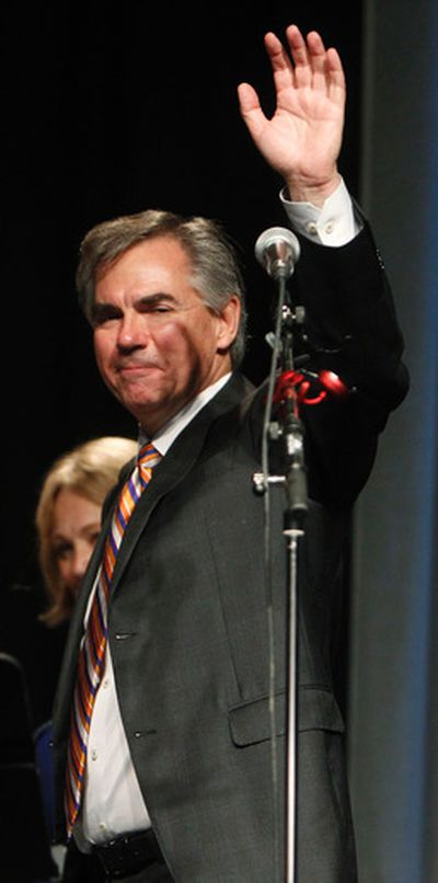 Jim Prentice waves to the crowd as he leaves the stage after his speech after he was announced as the winner of the 2014 Progressive Conservative Association of Alberta leadership election at Edmonton Expo Centre in Edmonton, Alta., on Saturday, Sept 6, 2014. Tom Braid/Edmonton Sun/QMI Agency