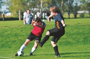 Braden Nicoll of Portage United pressures a defender during a United loss to Forza-WSP Sept. 7. (Kevin Hirschfield/The Graphic)