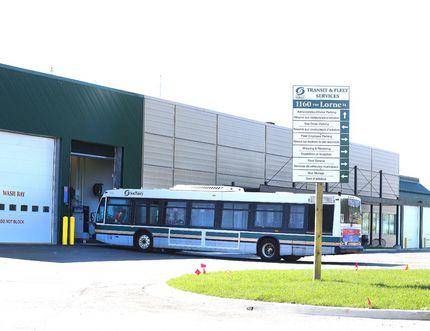Gino Donato/The Sudbury Star A Greater Sudbury Transit bus pulls into the garage at the new transit and fleet services building on Lorne Street.