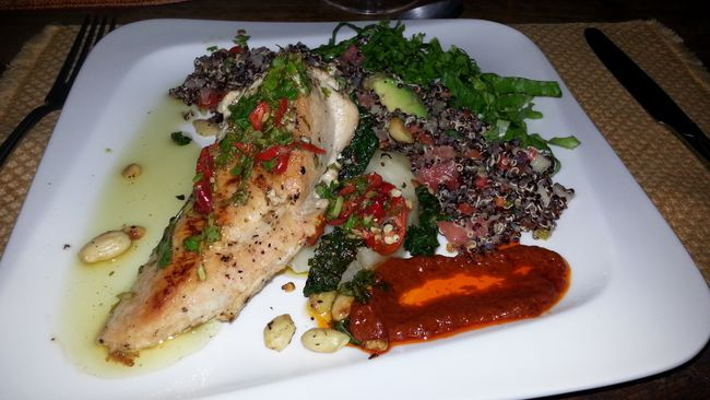 This dinner at Anamaya Resort is a delicious and decadent affair of organic chicken with quinoa and vegetables. Much of the food is raised at the resort's eco-farm. VICTORIA REVAY/QMI AGENCY