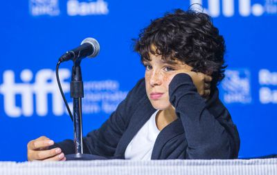 Noah Lomax during the presser for the movies