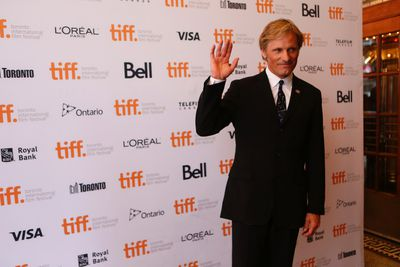 Actor Viggo Mortensen arrives at  at the premiere at the Elgin theatre for the French film
