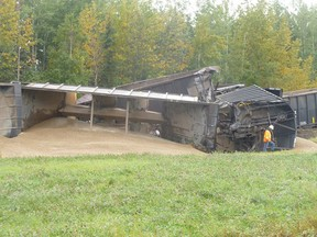 Nobody was injured after eight cars of an eastbound freight train derailed east of Whitecourt, Alberta. Four of the cars tipped over, spilling their loads of gravel on the ground. CN Spokesperson Emily Hamer confirmed that no hazardous materials were involved. Chance Hansen photo | Submitted