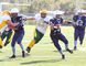 St. Benedict Bears quarterback Chase Pressacco, makes a run with the ball during high school football action against the Confederation Chargers from James Jerome Field on Tuesday afternoon.