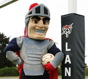 Lanny the Lancer, the new Loyalist College mascot, helps usher in the 2014 OCAA women's soccer season. (Loyalist College photo)