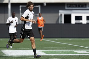 Ottawa Fury FC striker Tommy Heinemann trains at TD Place Wednesday. After going scoreless through the first five games of the fall season, Heinemann now has three goals in his last four appearances. (Chris Hofley/Ottawa Sun)