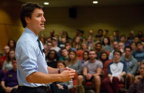 Federal Liberal leader MP Justin Trudeau speaks to students at Western University in London, Ont. on Thursday September 11, 2014. Mike Hensen/The London Free Press/QMI Agency