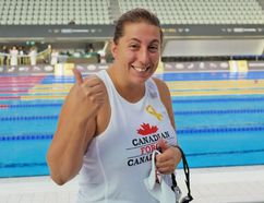 Canada's Renee Bertrand won silver in the women's 50m breaststroke at the 2014 Invictus Games in London.