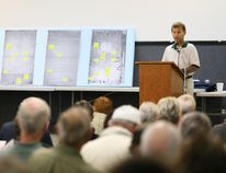 Doug Jordan, President of the Sauble Beach Residential Property Owners Association, during a public meeting hosted by the group in the Sauble Beach Community Centre in late August. Jordans' presentation addressed the Ballantyne report, amongst other topics. James Masters photo.