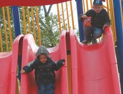 Plum Coulee's Moms on a Mission (MOM) welcomed the community to the town park Wednesday, Sept. 10 to celebrate the completion of their play structure project. (DON RADFORD/Red River Valley Echo)