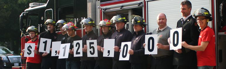 United Way Oxford announced this year's campaign goal of $1,125,000 on Thursday at the Woodstock Fire Department's Vansittart Avenue fire hall, up $20,000 from last year's. (BRUCE CHESSELL, Sentinel-Review)​