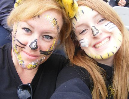 Columnist Kimberlee Taplay and daughter Avery cheer for the Hamilton Tigercats at the new Tim Hortons Field.(Submitted Photo)
