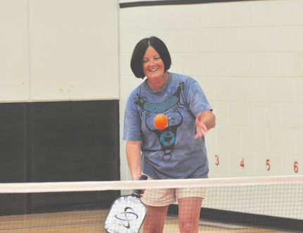 Several Portagers tried out the sport of pickleball Wednesday night, something they hope will catch on in the city. (Kevin Hirschfield/The Graphic/QMI AGENCY)