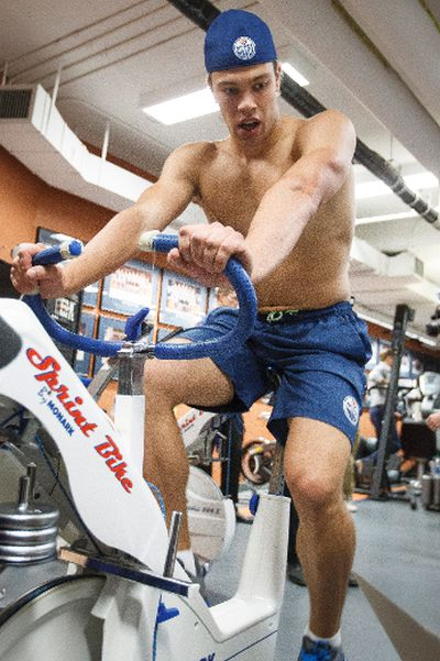 Edmonton forward Taylor Hall is tested on an exercise bike on the first day of the Edmonton Oilers training camp at Rexall Place in Edmonton, Alta., on Thursday, Sept. 18, 2014. Players went through medical and physical testing. Ian Kucerak/Edmonton Sun/ QMI Agency