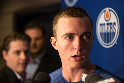 Edmonton goaltender Ben Scrivens speaks to reporters on the first day of the Edmonton Oilers training camp at Rexall Place in Edmonton, Alta., on Thursday, Sept. 18, 2014. Players went through medical and physical testing. Ian Kucerak/Edmonton Sun/ QMI Agency