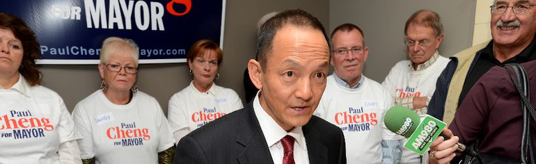 Candidate for Mayor of London Paul Cheng announces his election platform at his campaign headquarters on Thurday Sept 18, 2014 MORRIS LAMONT / THE LONDON FREE PRESS / QMI AGENCY