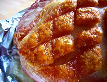 Baked ham glazed with brown sugar and mustard, or variations thereof, is a traditional main course at Fall/Harvest Suppers to welcome the new season.