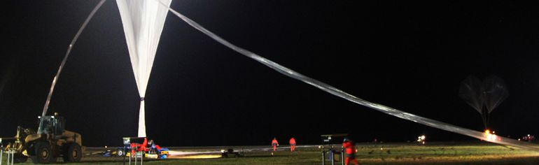 One of the many balloons that was inflated and launched from the Victor M. Power Airport. Strato Science 2014, the name of this year's campaign, has had seven Canadian experiments and 15 European experiments booked for the eight launches.