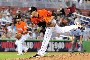 Miami Marlins starting pitcher Jose Fernandez (16) throws during the fifth inning against the Los Angeles Dodgers at Marlins Ballpark on May 4, 2014; Miami, FL, USA. (Steve Mitchell/USA TODAY Sports)