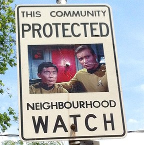 One of the Neighbourhood Watch signs which  have been altered to include such pop-culture icons. (INSTAGRAM PHOTO)