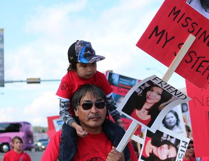 Earlier this month, more than 60 First Nations, Metis and supporters marched in Fort McMurray, protesting the federal government's refusal to launch an inquiry into missing and murdered Aboriginal women. VINCENT MCDERMOTT/TODAY STAFF