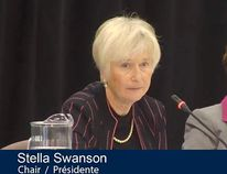 Stella Swanson is the chair of the Joint Review Panel reviewing Ontario Power Generation's proposal to build a deep geologic repository 680-metres underground at the Bruce nuclear site, for the storage of low and intermediate level nuclear waste. (JRP SCREEN CAPTURE)
