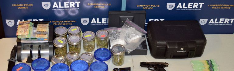 The two recent search warrants in Grande Prairie resulted in the seizure of cocaine, heroin, fentanyl, and marijuana, (shown here) worth an estimated $57,000, along with a .40 caliber handgun and nearly $10,000 in cash proceeds of crime. Michael Robin Edward Douglas is wanted by police as a result. Photo supplied by ALERT