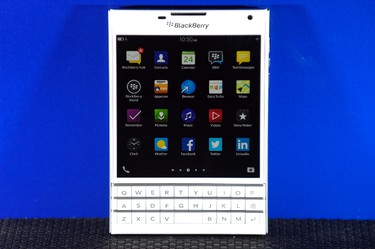 A BlackBerry Passport smartphone is shown at its official launching event in Toronto, Sept. 24, 2014. REUTERS/Aaron Harris