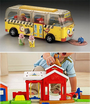 Fisher Price Little PeopleFisher-Price first offered its wooden Little People in the 1959 Safety School Bus. Made of brightly painted wood and fashioned for little hands, the figures help small children imagine big adventures at the Little People school, airport, service station, amusement park, zoo, and farm.